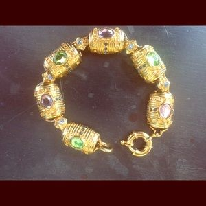 Multi-colored stone gold plated tennis bracelet